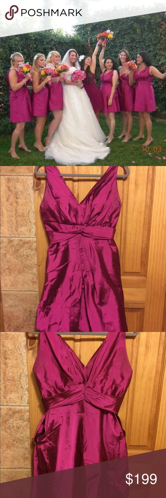 Bridesmaids or prom dress Worn once. Needs steaming cuz it's been in storage. Designer. Taffeta. Color is either fuchsia or raspberry (I can't remember). Has built in bra holder in back to keep back of bra from showing. Has 2 side pockets to be able to carry stuff without a purse during the wedding. I had it shortened, the top front stitched high to keep my boobs from falling out & the front seam stitched to keep it flat, so it didn't make me look pregnant. The designer's photo shows how…
