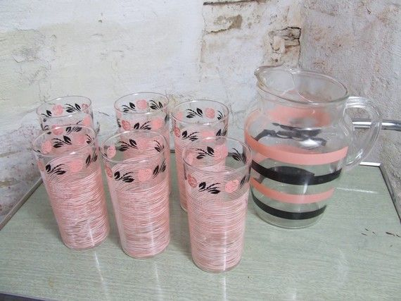 Vintage Pink Black Rose Drinking Glass Set with Black and Pink Striped Pitcher Atomic
