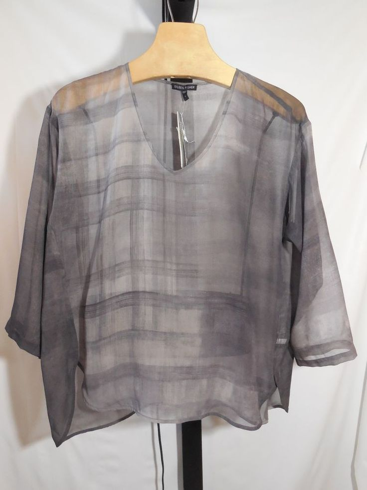MISSES TAUPE OXIDIZED PRINTED 100% SILK TOP BLOUSE EILEEN FISHER S $278 #EileenFisher #Blouse