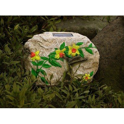 Unique Arts M77022 Stonoptics Solar Hummingbird Light - Small Version by Unique Arts. $38.94. M77022 Features: -Stonoptics new hummingbird small version.-Made from a durable fiber polyresin material and contain mini LED lights.-Powered by the sun through a solar panel on top of the rock.-Lights automatically turn on and off at dusk and dawn.-Embossed with designs for added appeal during daytime hours.-Night time reveals butterflies flitting from flower to flower by synchr...