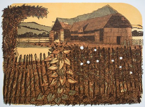 Tithe Barn and Fence 63/75 by Robert Tavener