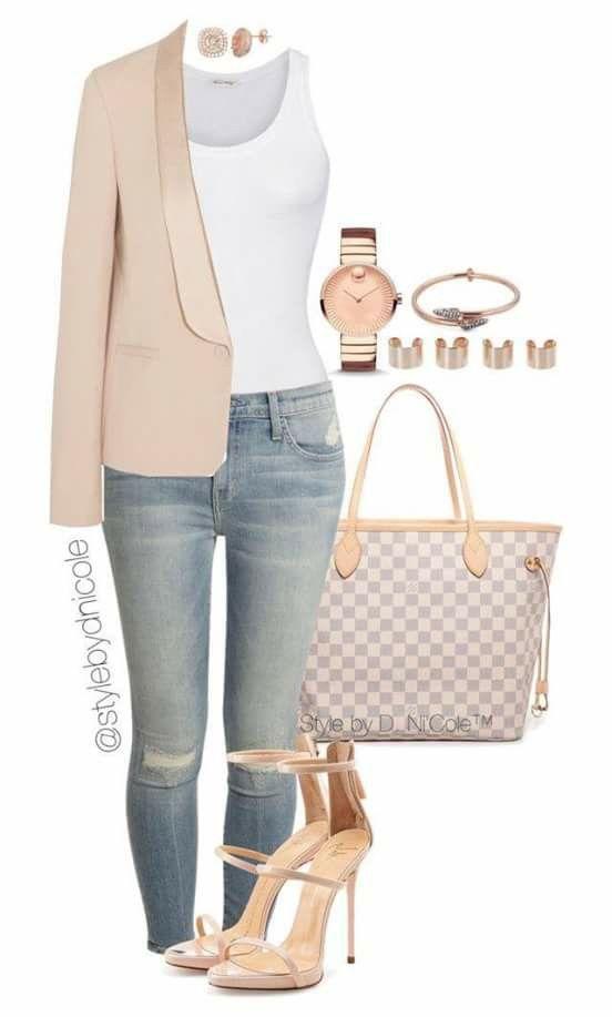 Cream blazer, white tank, denim, LV tote
