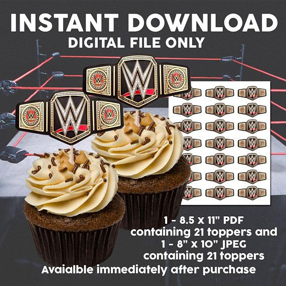 Incredible Printable Wwe Wrestling Cupcake Toppers Wwe Party Supplies Personalised Birthday Cards Cominlily Jamesorg