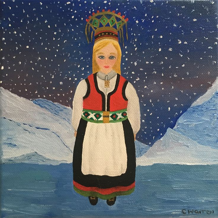 Norwegian Bride   Oil on canvas. 15 x 15 cm
