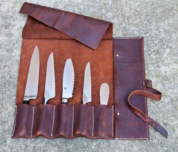 handgemaakte 5 slot leer mes roll. kan maximaal tot 15 messen. Aangepaste maten