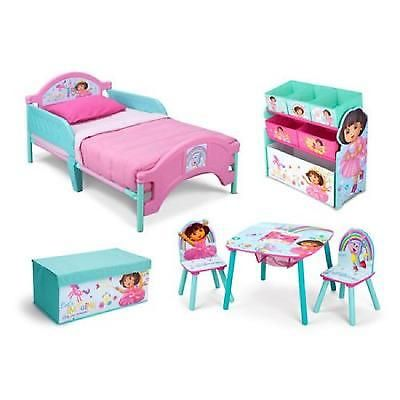 Kids Bedroom Set Dora Toddler Furniture Bed Toy Table Chairs Room Box  Organizer