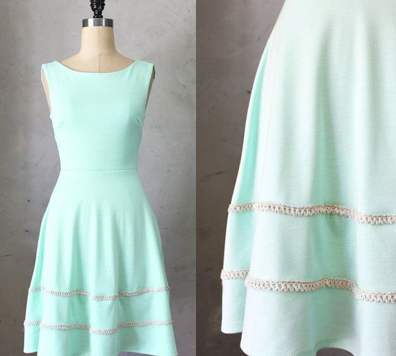 COQUETTE in MINT - Light mint green dress with pockets // flared circle skirt // ivory crochet // bridesmaid dress // vintage inspired on Etsy, $68.00