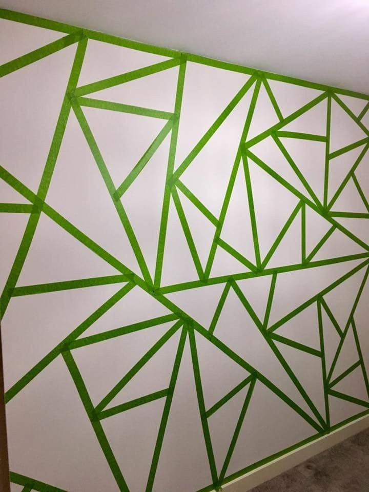 Masking Tape On The Wall Before Painting Frog Green Tape