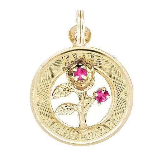 1960's Vintage Happy Anniversary Charm Medallion Pendant in 14 Karat Yellow Gold