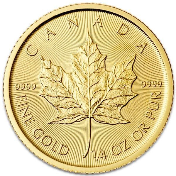 1 4 Oz Canadian Gold Maple Leaf 9999 Pure Gold Coins Money Metals In 2020 Gold Coins Maple Leaf Gold Coins