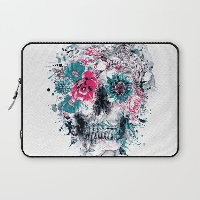 MOMENTO MORI IX Laptop Sleeve #skull #flowers #collage #abstract #colors #digitalart