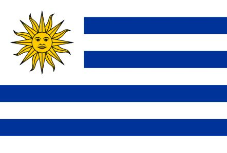 Uruguay Flag ~ The current flag of Uruguay was officially adopted on July 11, 1830. The Sun of May has been used as a national symbol since the 19th century. The blue and white colors are modeled after the flag of Argentina, and the nine stripes represent the nine departments within the country.