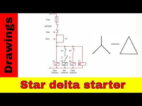 Star-delta starter control and power circuit diagram - YouTube