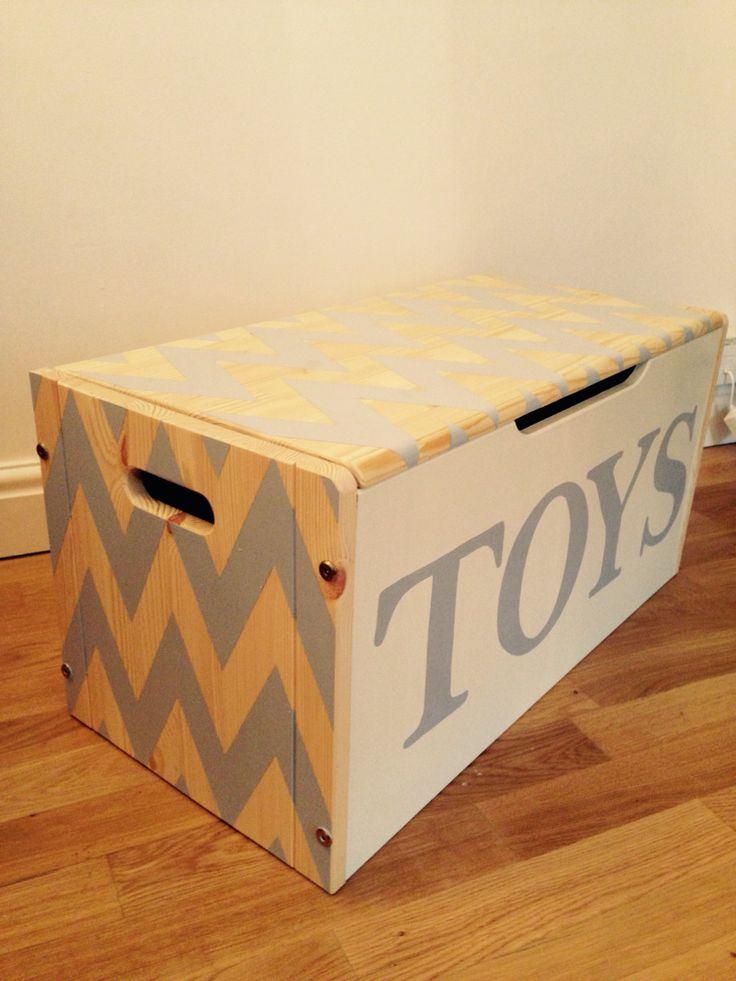 Grey zigzag hand painted toy box for sale!