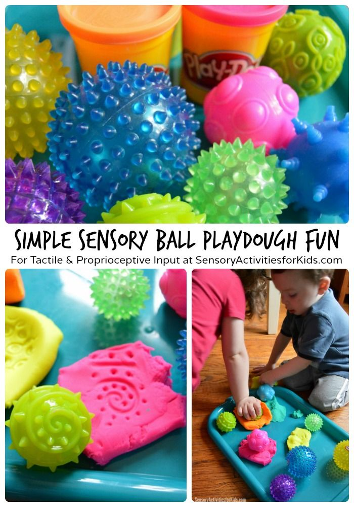 Simple Sensory Ball Play with Playdough