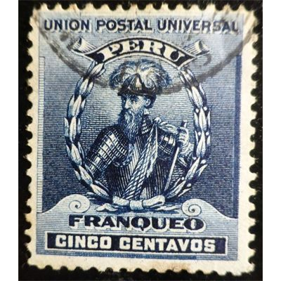 Peru, Francisco Pizarro Stamp (Spanish conquistador), Blue c.1896 Used fine