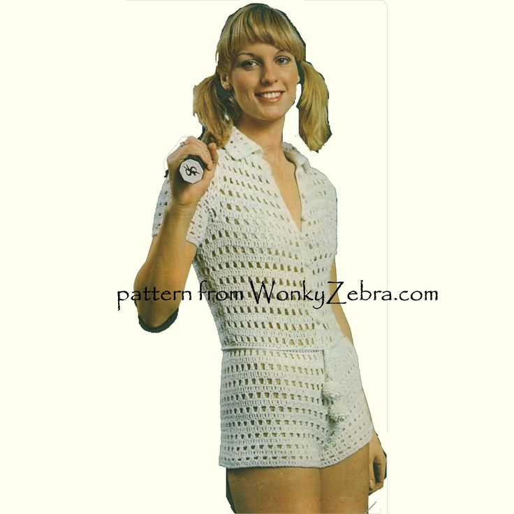 """WZ377 """"anyone for tennis?"""" Another cute """"spectator sport"""" tennis set from Barbara Warner couture crochet at Twilleys 5137. ...skintight shorts jumpsuit!!!"""