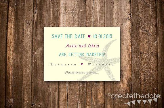 Save The Date Beach Wedding Starfish Digital by CreateTheDate, $8.50