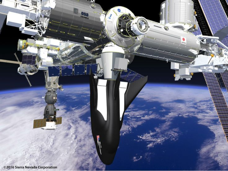 SNC's Dream Chaser Spacecraft and Cargo Module Attached to the ISS (Image: SNC)