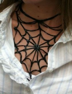 DIY Spider Web Necklace - you won't believe how easy this is to make or what it is made out of!!!
