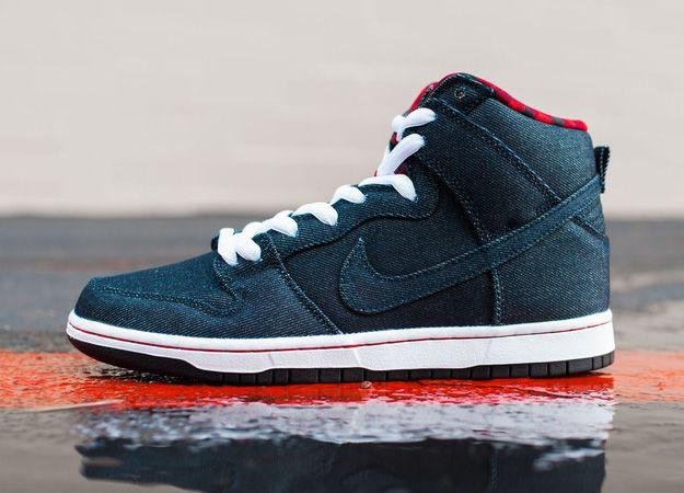 Men's Nike Dunk High Denim Black Cool Grey White Sneakers : K70s1945