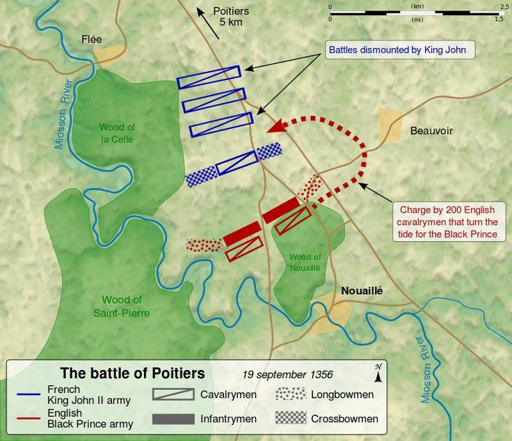 Map of the en:Battle of Poitiers (1356), between the French army of King John II and the English army of the Black Prince.Перед боем многие англ.воины были посвящены в рыцари;после чего принц Эдуард запретил брать пленных до решит.победы чтобы пресечь охоту за титулованными пленниками ради выкупа.