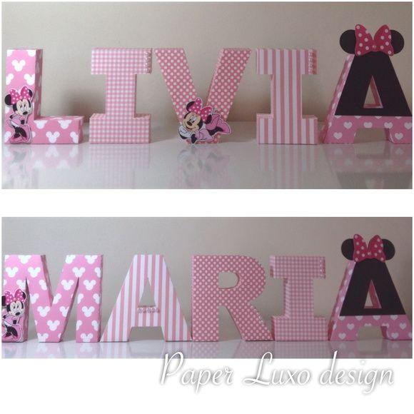 Letras 3D Minnie Rosa   Paper Luxo Design   Elo7