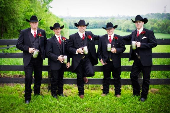 Cowboy groomsmen/throw on some levi's for the reception and we're good! Gotta make the bridesmaids happy you know ;)