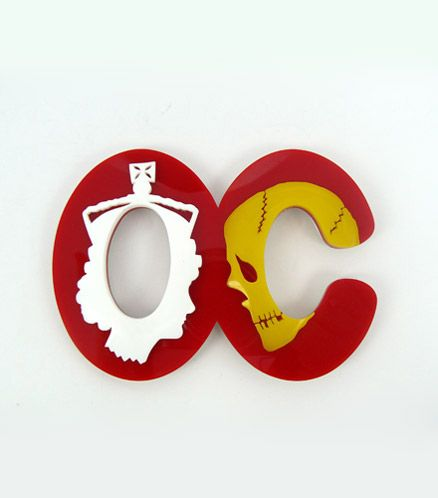Octavia Cook, Off with her Head, Brooch, 2010. Acrylic and Oxidized Stg. Silver. 70mm x 100mm