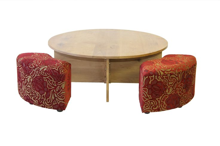 An early custom piece by HOMEWOOD - a coffee table and 4 quarter round upholstered Ottoman benches.
