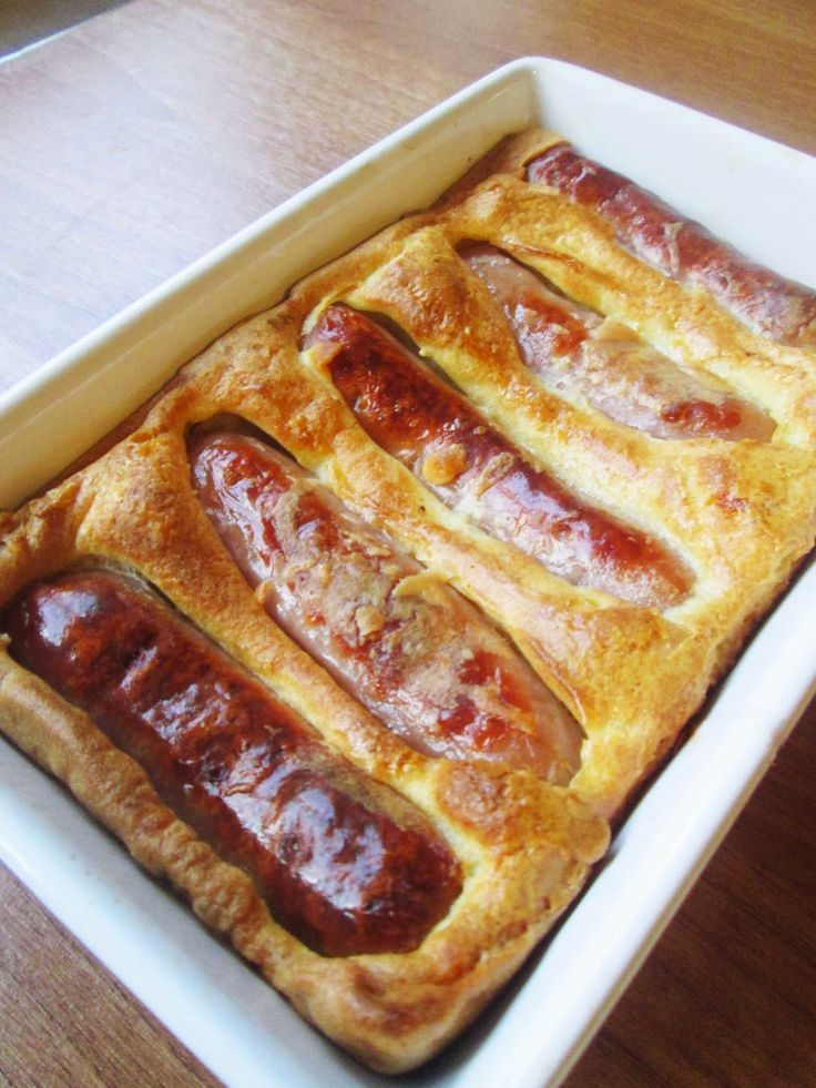 Gluten free Toad In The Hole ----- Toad in the hole is a traditional British dish. Its made with sausages in a Yorkshire pudding batter