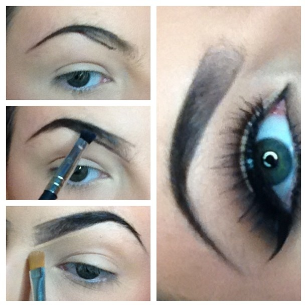How to fill in your eyebrows with eyeshadow...its too dramatic but gives you a good idea on how to thicken them a bit