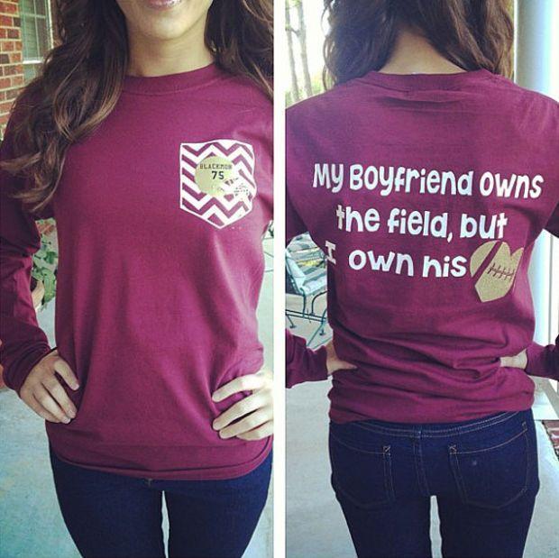 Football Girlfriend Shirt - shirts, band, cool, football, band, christmas shirt *ad