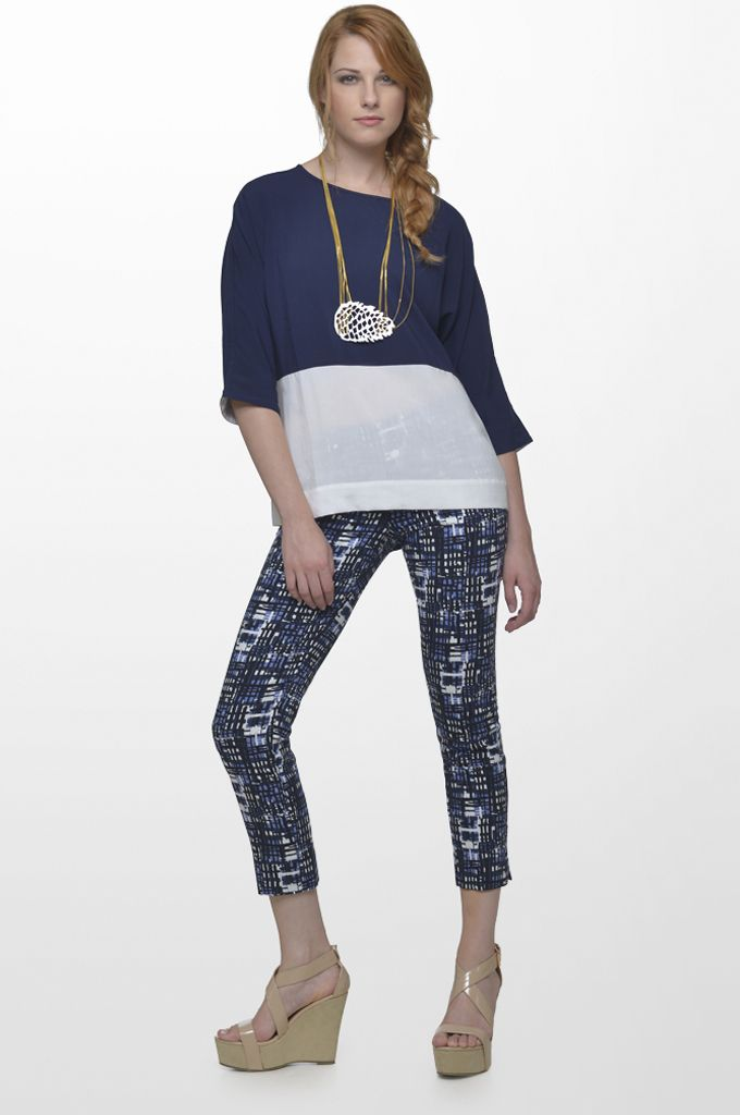 Sarah Lawrence - 3/4 sleeve blouse with combination of two colors, cropped printed pant.