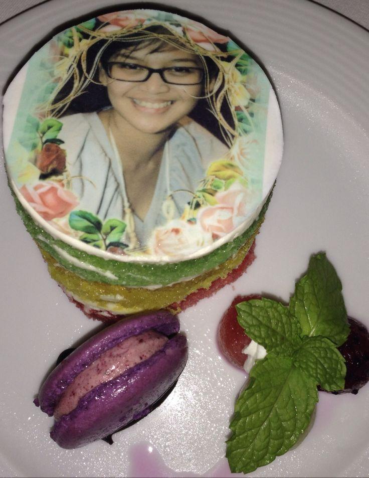 Personalized rainbow cake