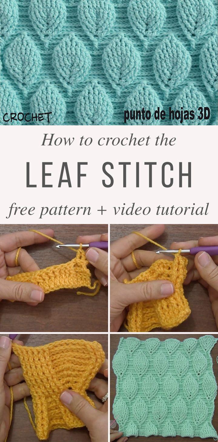 3d Leaf Stitch Crochet Pattern Tutorial Crochet Crochet Blanket Patterns Crochet Stitches