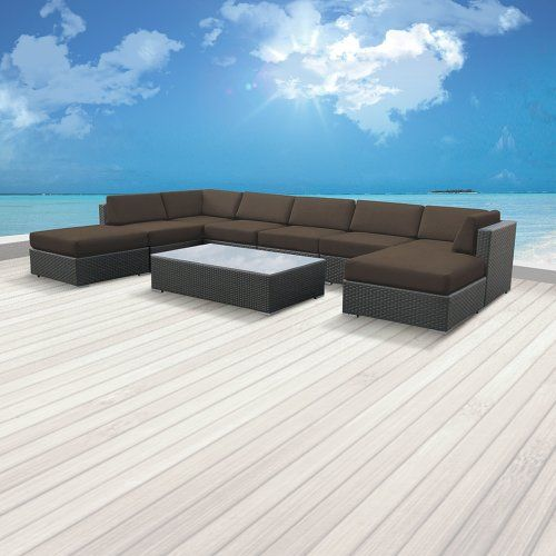 Luxxella Patio Mallina Outdoor Wicker Furniture 9Piece All Weather Couch Sofa Set  Dark Grey * You can find more details by visiting the image link. (Amazon affiliate link)