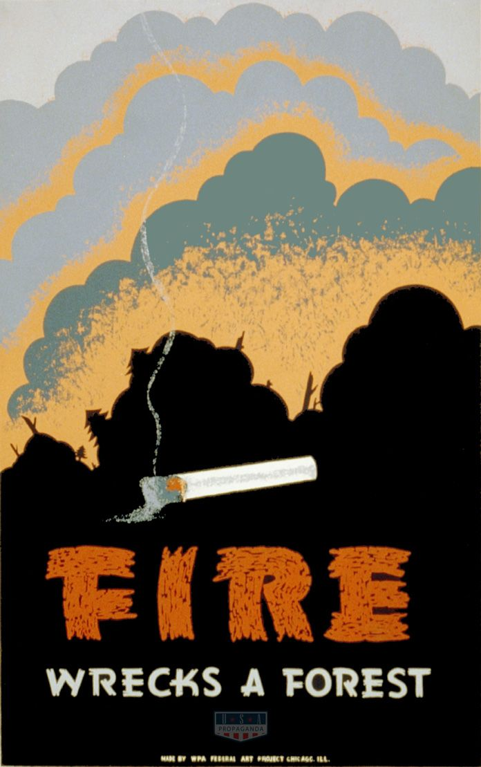 Fire Wrecks A Forest Wpa Poster Usa Propaganda Wpa Posters