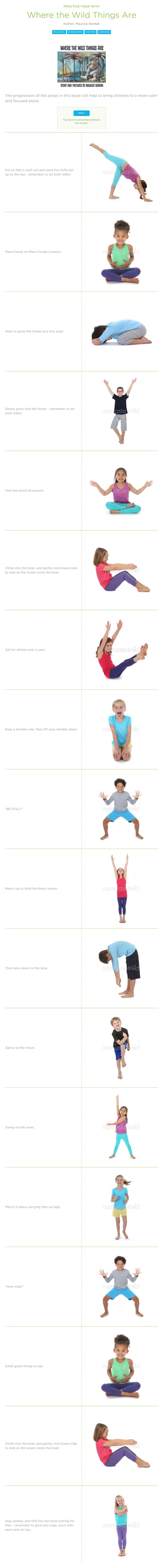 """Sample children's yoga tied to the book """"Where the Wild Things Are"""". It's my favorite thing to tie the sequence to literature. Find tons more storytime lessons at LittleTwistersYoga.com"""