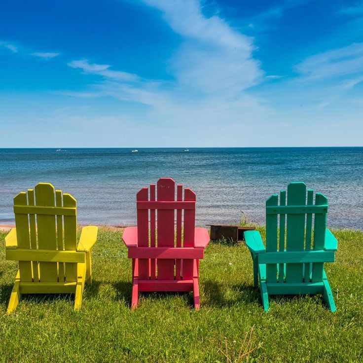 Three chairs on the sea shore of PEI. #PEI #Canada #summer #PEIphotographytour #vacation #ocean