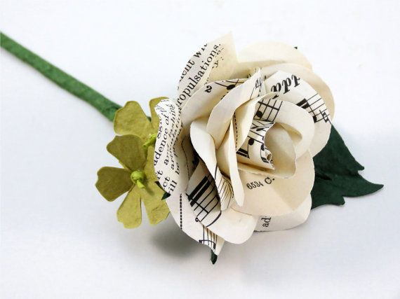 Ivory Cream Music Sheet Rose - Grooms Buttonhole - Boutonniere
