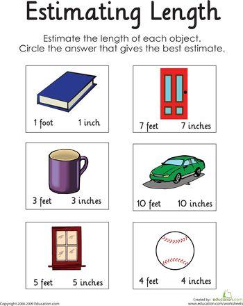 estimating length the end 1st grade worksheets and student. Black Bedroom Furniture Sets. Home Design Ideas