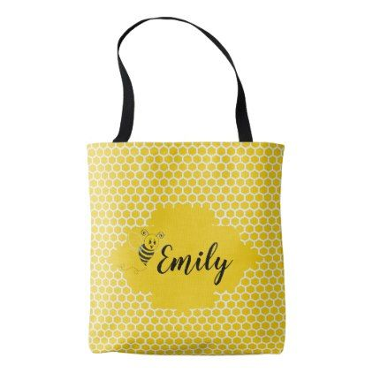 Baby Yellow White Bumble Bee Honeycomb Honey Tote Bag - white gifts elegant diy gift ideas