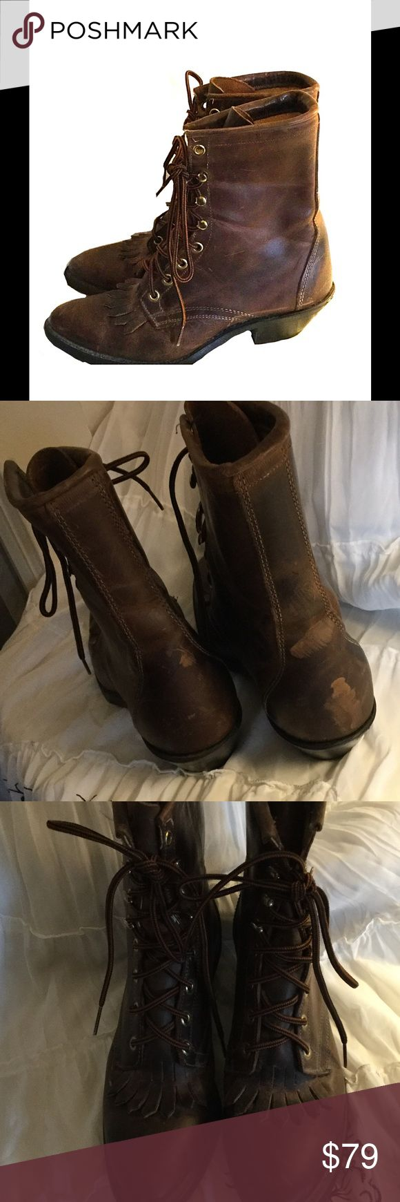"""Ladies Western Boots by Laredo Ladies western boots by Laredo. Needs some TLC. 1.5"""" heel. Boots are 7"""" tall. Have been worn only a couple times. They look distressed from being in storage for several years. Very cute! Laredo Shoes Lace Up Boots"""