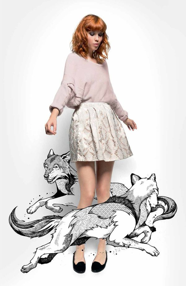 NAF NAF Paris // Wolves by Andreas Preis, via Behance Cute way of putting together photo and drawing