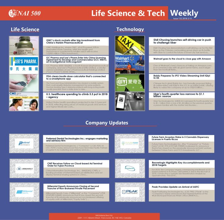#NAI500 #LifeScience & #Technology Weekly 132 – Week of Feb 8-15, 2018 #investment