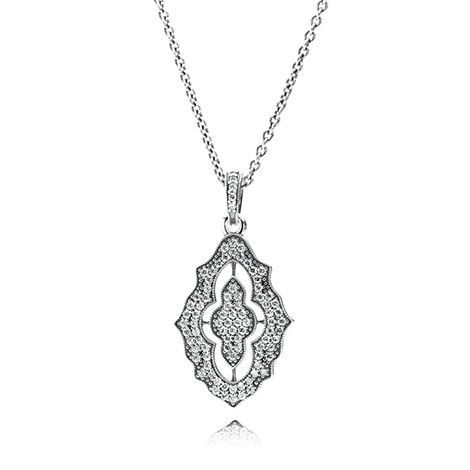 Beginnings Cubic Zirconia Hand of Fatima Necklace - Silver/Clear Si GgO7h