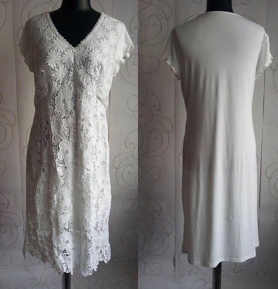 50% Off SALE Woman's Ivory Lace Dress Casual Boho Style