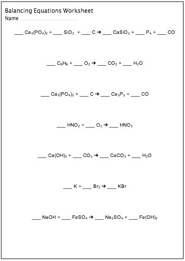 Printables Chemistry Worksheet chemistry worksheet balancing equations answers davezan davezan