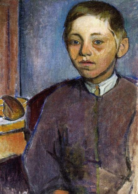 Bretoński chłopiec z bochenkiem chleba (Ludwik Kościelniak)